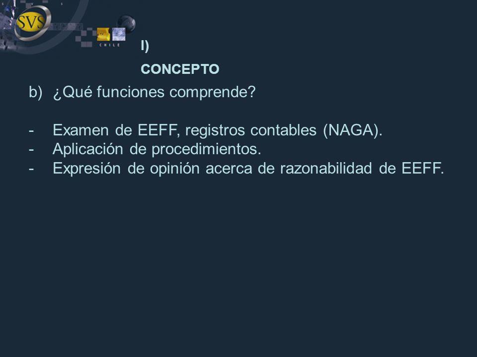 b)¿Qué funciones comprende? -Examen de EEFF, registros contables (NAGA). -Aplicación de procedimientos. -Expresión de opinión acerca de razonabilidad