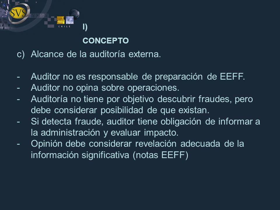 c)Alcance de la auditoría externa. -Auditor no es responsable de preparación de EEFF. -Auditor no opina sobre operaciones. -Auditoría no tiene por obj