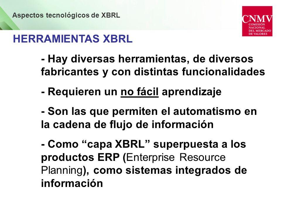 Aspectos tecnológicos de XBRL HERRAMIENTAS XBRL - Hay diversas herramientas, de diversos fabricantes y con distintas funcionalidades - Requieren un no fácil aprendizaje - Son las que permiten el automatismo en la cadena de flujo de información - Como capa XBRL superpuesta a los productos ERP (Enterprise Resource Planning), como sistemas integrados de información