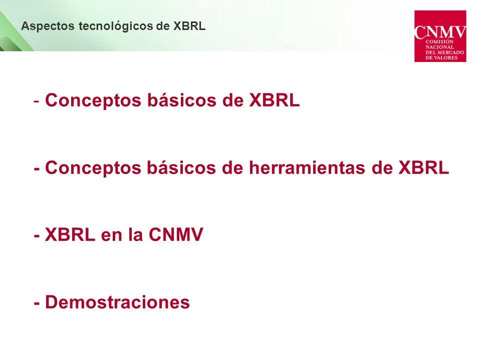 - Conceptos básicos de XBRL - Conceptos básicos de herramientas de XBRL - XBRL en la CNMV - Demostraciones Aspectos tecnológicos de XBRL
