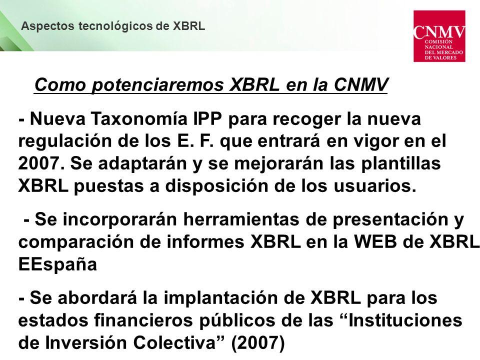 Aspectos tecnológicos de XBRL Como potenciaremos XBRL en la CNMV - Nueva Taxonomía IPP para recoger la nueva regulación de los E.