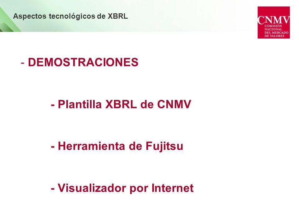 - DEMOSTRACIONES - Plantilla XBRL de CNMV - Herramienta de Fujitsu - Visualizador por Internet Aspectos tecnológicos de XBRL