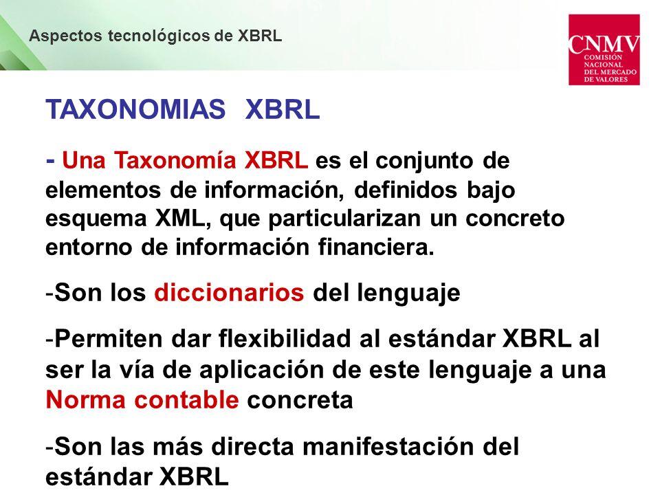 Aspectos tecnológicos de XBRL TAXONOMIAS XBRL -La Taxonomía proporciona los elementos (conceptos y tipos de datos) y la estructura de los informes -Define la lista de conceptos y sus relaciones: Relaciones de cálculo Relaciones de presentación Relaciones de definición Etiquetas ( Texto añadido a los conceptos) Referencias ( Meta-datos añadidos a los conceptos)