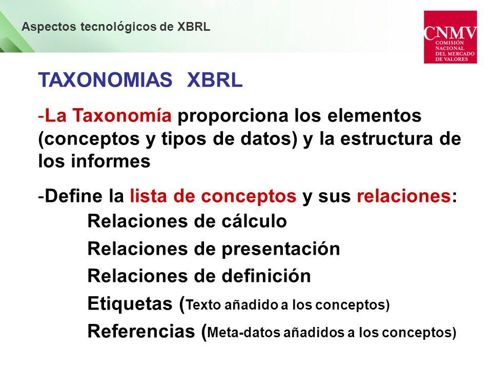 Aspectos tecnológicos de XBRL Taxonomía, Linkbase e Informe XBRL - Taxonomía Técnicamente es un esquema XML + Un conjunto de 5 linkbases : Presentación, Etiquetas, Cálculo, Definiciones y Referencias - Linkbase Es un conjunto de relaciones (links) que ayudan a documentar los elementos que componen una Taxonomía - Informe XBRL Es un documento ajustado a una Taxonomía que recoge los datos concretos de una empresa