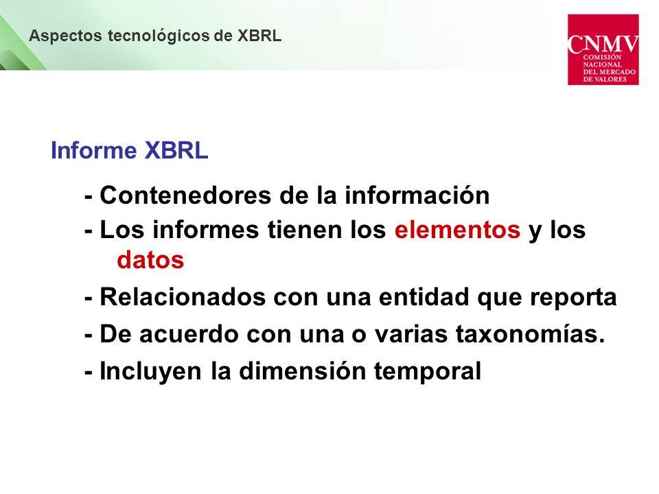 Aspectos tecnológicos de XBRL Informe XBRL - Contenedores de la información - Los informes tienen los elementos y los datos - Relacionados con una entidad que reporta - De acuerdo con una o varias taxonomías.