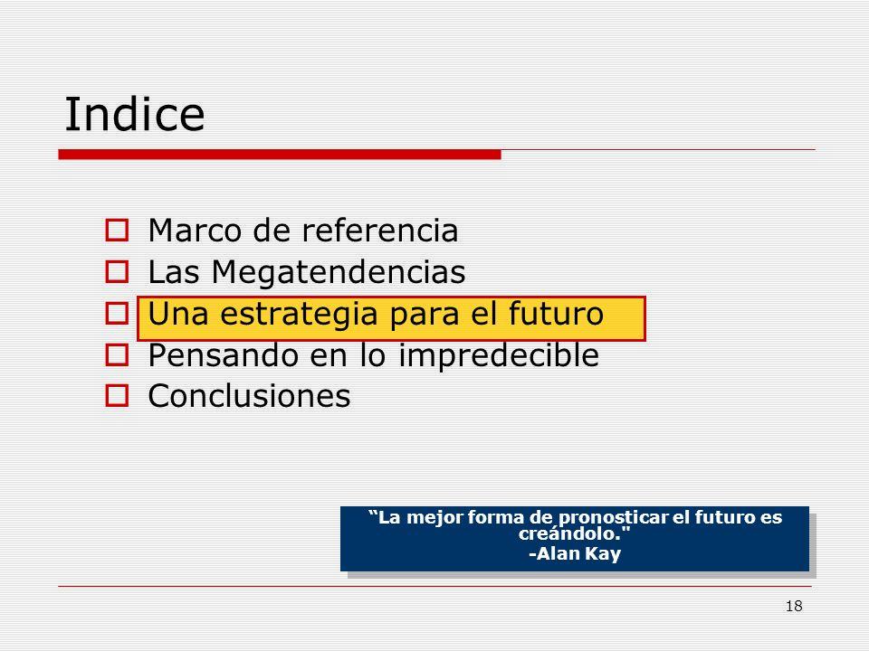 18 Indice Marco de referencia Las Megatendencias Una estrategia para el futuro Pensando en lo impredecible Conclusiones La mejor forma de pronosticar