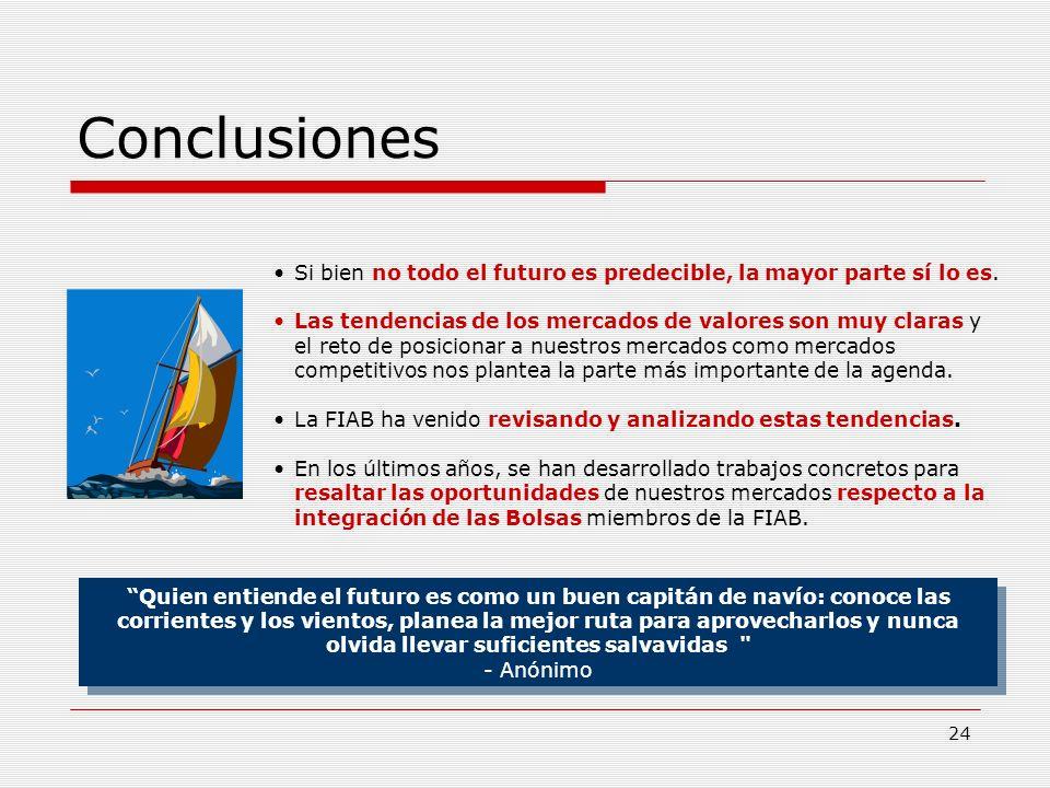 24 Conclusiones Quien entiende el futuro es como un buen capitán de navío: conoce las corrientes y los vientos, planea la mejor ruta para aprovecharlo