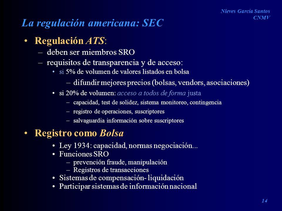 La regulación americana: SEC Regulación ATS: –deben ser miembros SRO –requisitos de transparencia y de acceso: si 5% de volumen de valores listados en