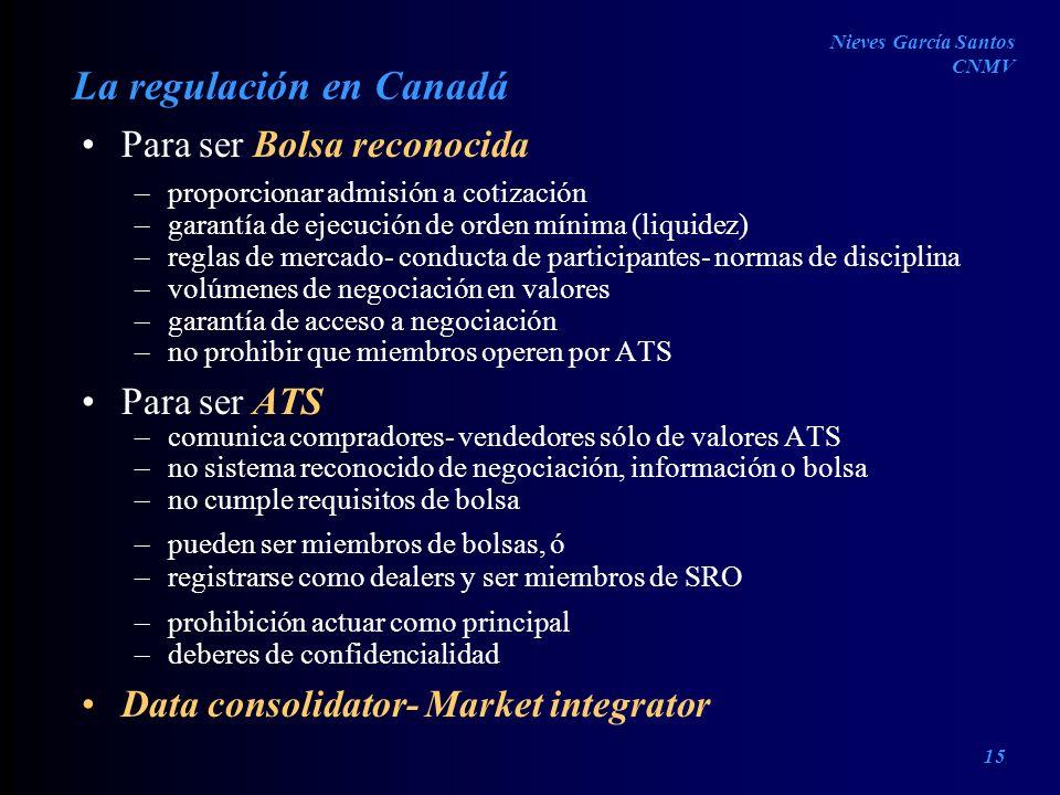 La regulación en Canadá Para ser Bolsa reconocida –proporcionar admisión a cotización –garantía de ejecución de orden mínima (liquidez) –reglas de mer