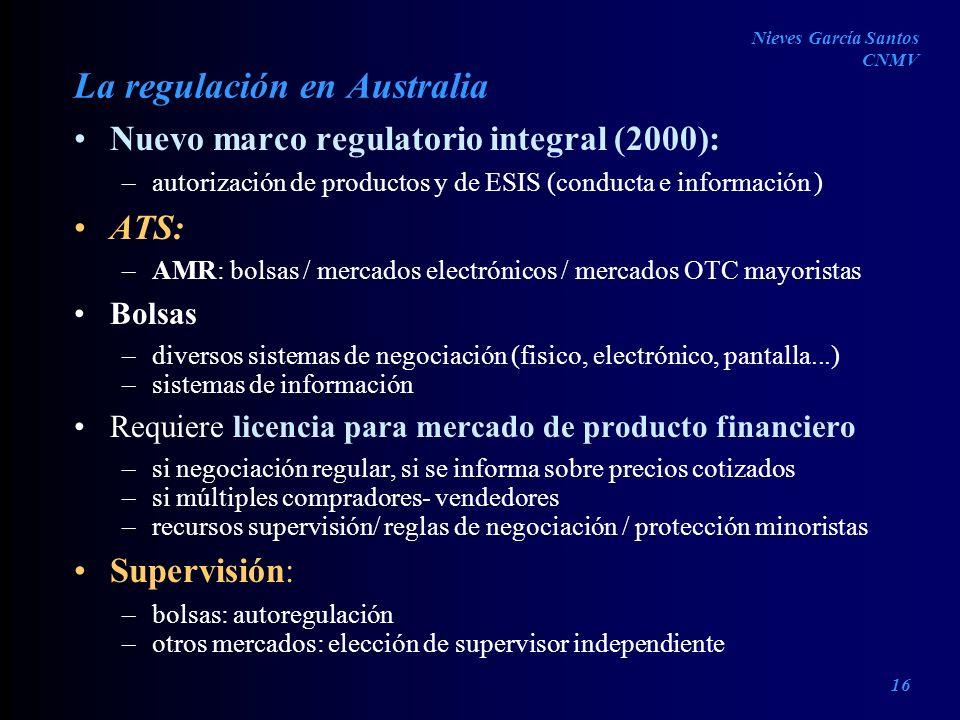 La regulación en Australia Nuevo marco regulatorio integral (2000): –autorización de productos y de ESIS (conducta e información ) ATS: –AMR: bolsas /
