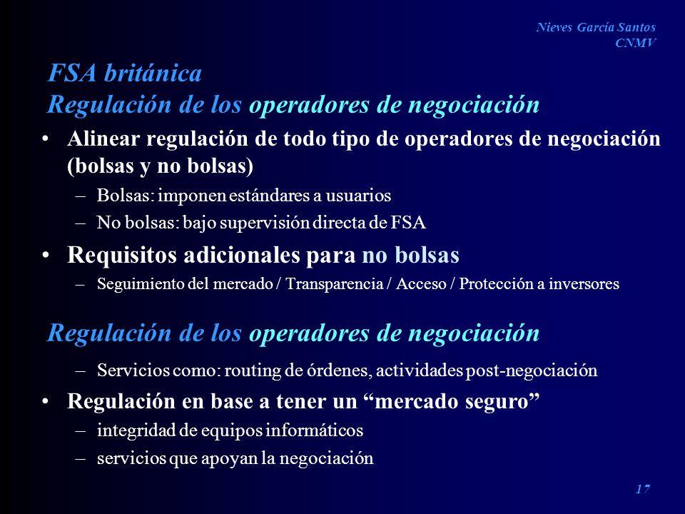 FSA británica Alinear regulación de todo tipo de operadores de negociación (bolsas y no bolsas) –Bolsas: imponen estándares a usuarios –No bolsas: baj