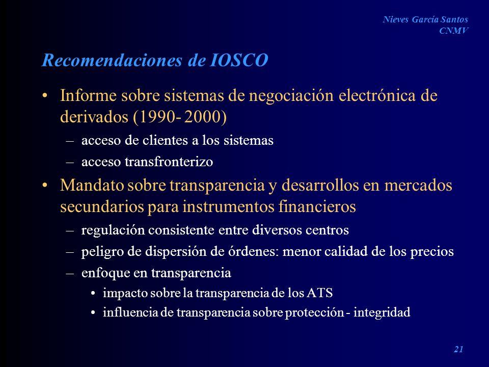 Recomendaciones de IOSCO Informe sobre sistemas de negociación electrónica de derivados (1990- 2000) –acceso de clientes a los sistemas –acceso transf
