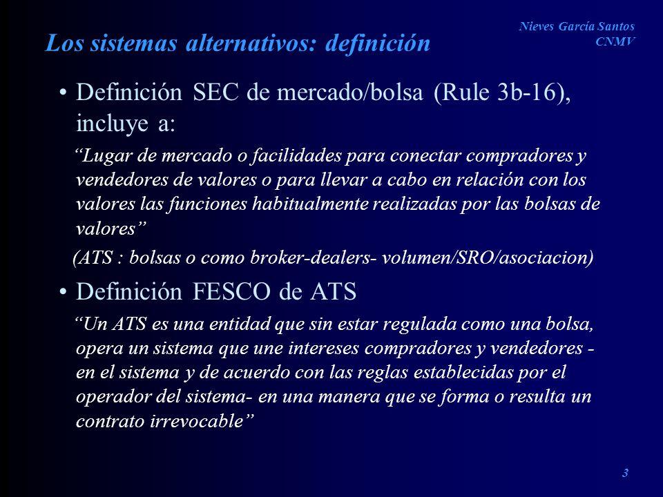 Los sistemas alternativos: definición Definición SEC de mercado/bolsa (Rule 3b-16), incluye a: Lugar de mercado o facilidades para conectar compradore