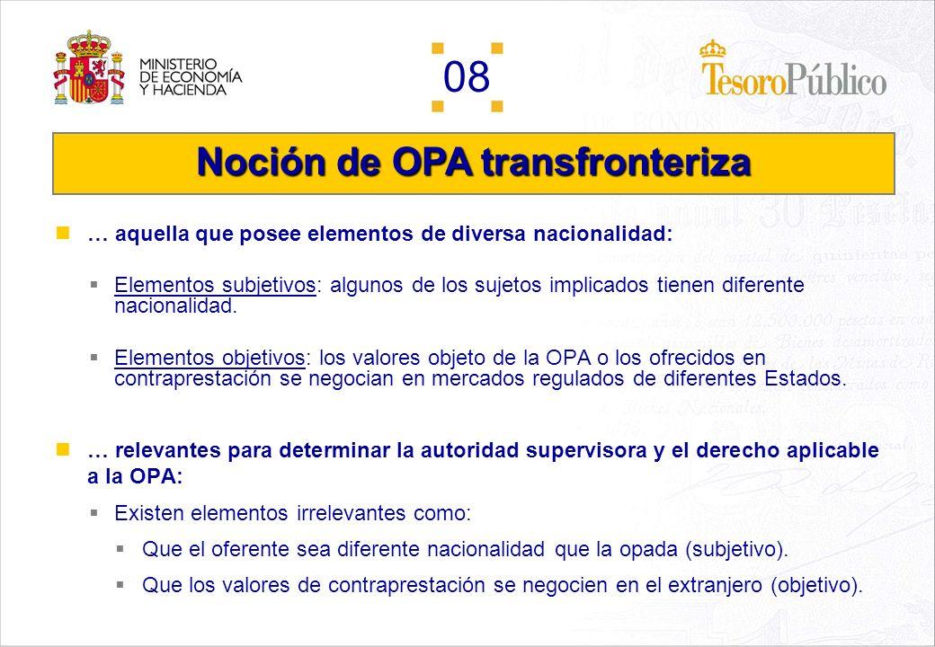 08 Índice Noción de OPA transfronteriza. OPA transfronteriza en la Unión Europea. Autoridades supervisoras. Derecho aplicable.