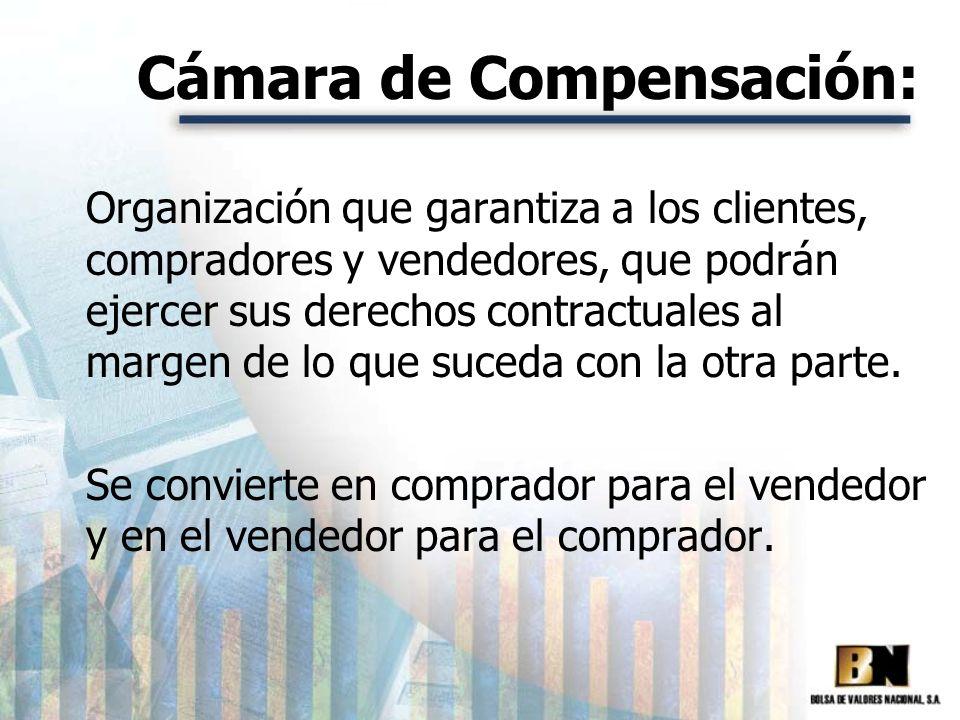 Cámara de Compensación: Organización que garantiza a los clientes, compradores y vendedores, que podrán ejercer sus derechos contractuales al margen d