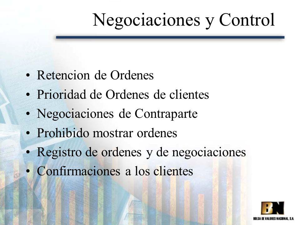 Negociaciones y Control Retencion de Ordenes Prioridad de Ordenes de clientes Negociaciones de Contraparte Prohibido mostrar ordenes Registro de orden
