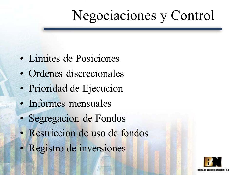 Negociaciones y Control Limites de Posiciones Ordenes discrecionales Prioridad de Ejecucion Informes mensuales Segregacion de Fondos Restriccion de us