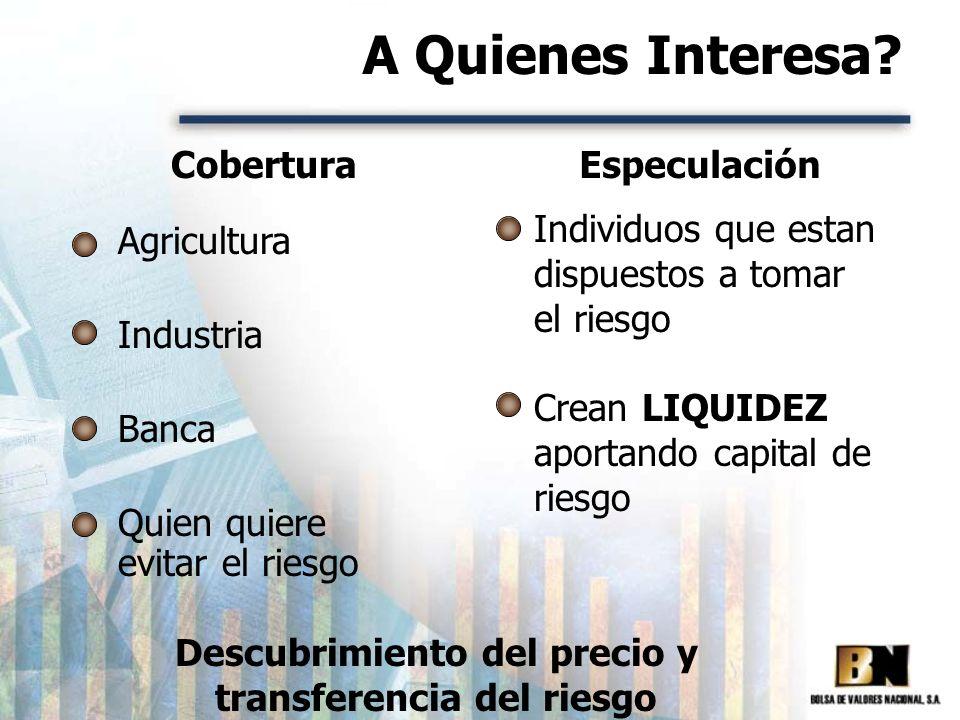 A Quienes Interesa? Agricultura Industria Banca Quien quiere evitar el riesgo Individuos que estan dispuestos a tomar el riesgo Crean LIQUIDEZ aportan