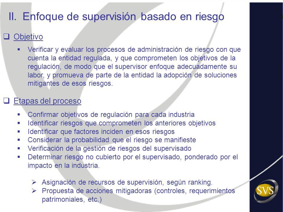 II.Enfoque de supervisión basado en riesgo Objetivo Verificar y evaluar los procesos de administración de riesgo con que cuenta la entidad regulada, y
