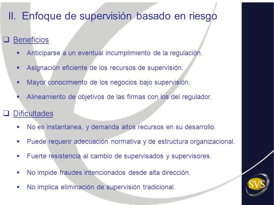 II.Enfoque de supervisión basado en riesgo Beneficios Anticiparse a un eventual incumplimiento de la regulación. Asignación eficiente de los recursos