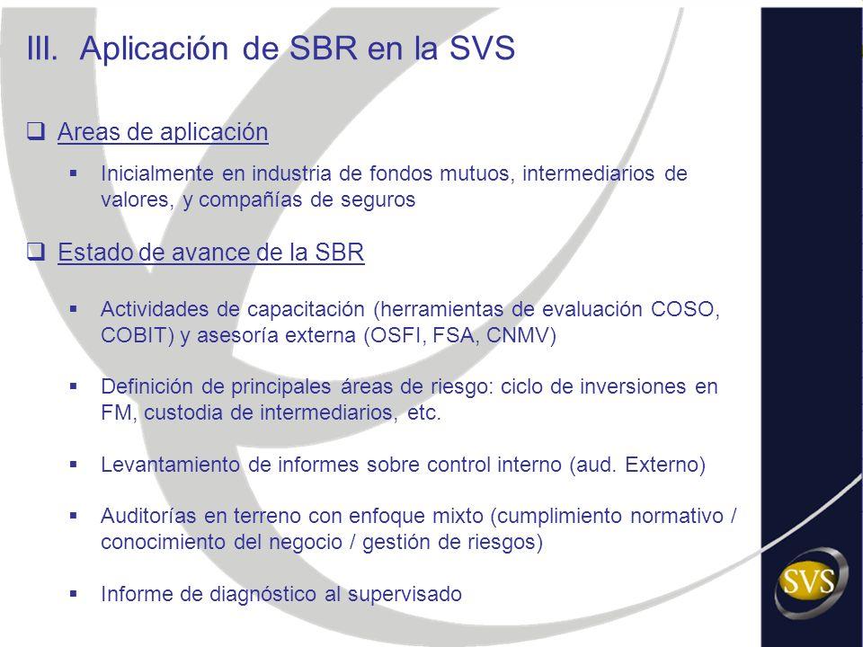 Areas de aplicación Inicialmente en industria de fondos mutuos, intermediarios de valores, y compañías de seguros Estado de avance de la SBR Actividad