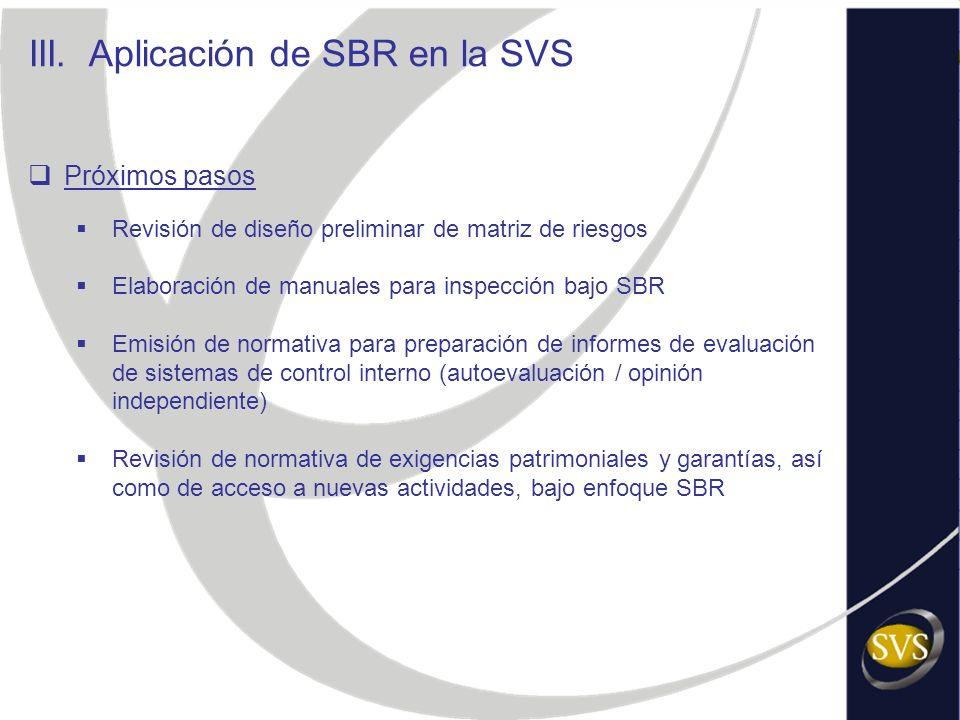 Próximos pasos Revisión de diseño preliminar de matriz de riesgos Elaboración de manuales para inspección bajo SBR Emisión de normativa para preparaci