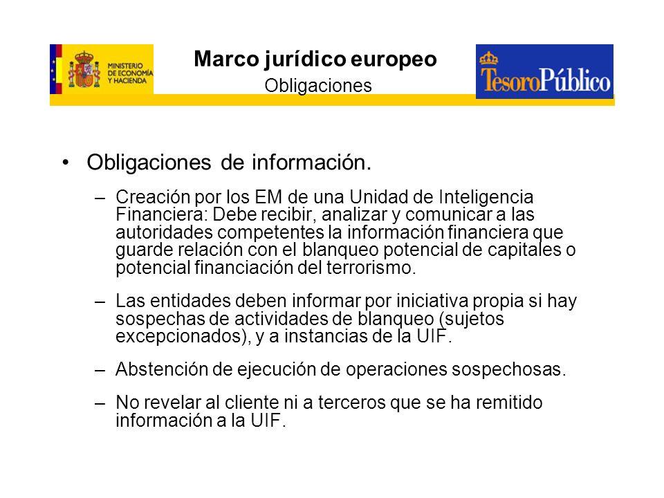 Marco jurídico europeo Obligaciones Obligaciones de información. –Creación por los EM de una Unidad de Inteligencia Financiera: Debe recibir, analizar