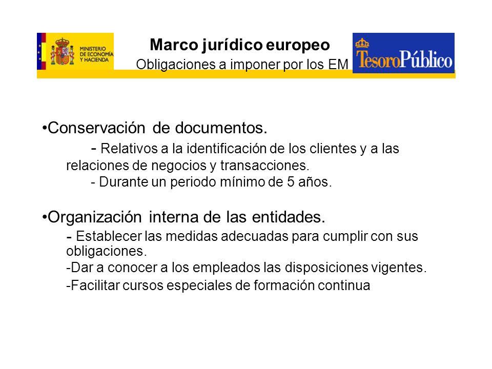 Marco jurídico europeo Obligaciones a imponer por los EM Conservación de documentos. - Relativos a la identificación de los clientes y a las relacione