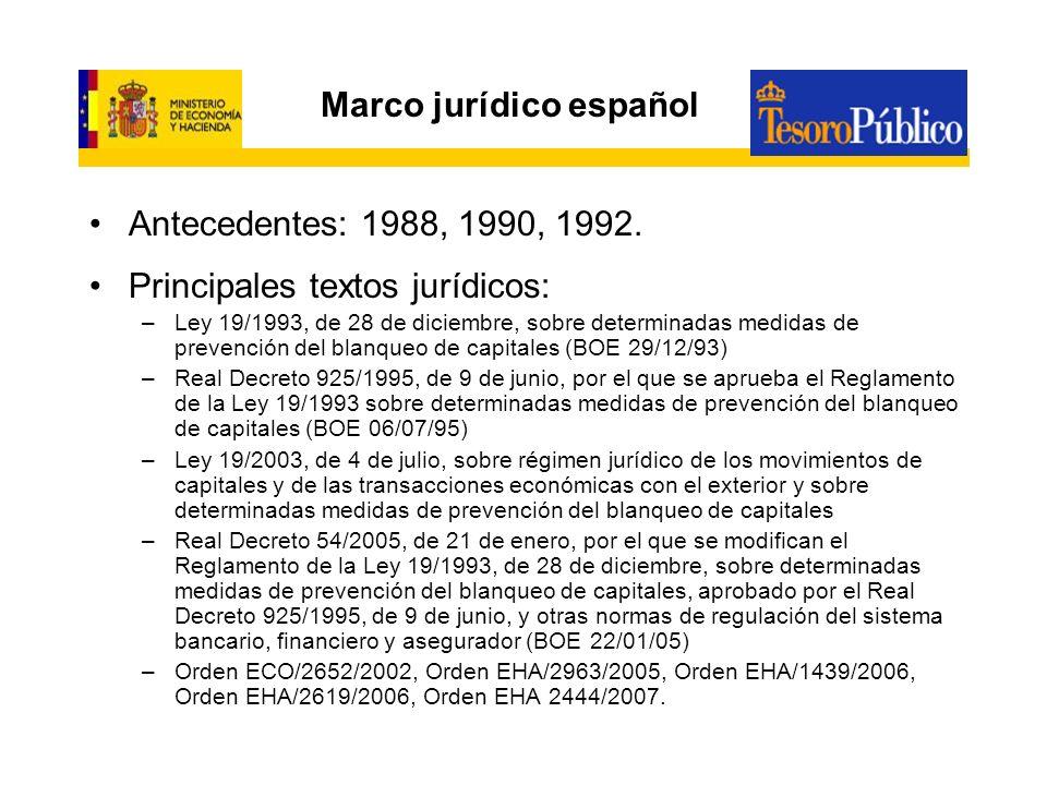Marco jurídico español Antecedentes: 1988, 1990, 1992. Principales textos jurídicos: –Ley 19/1993, de 28 de diciembre, sobre determinadas medidas de p