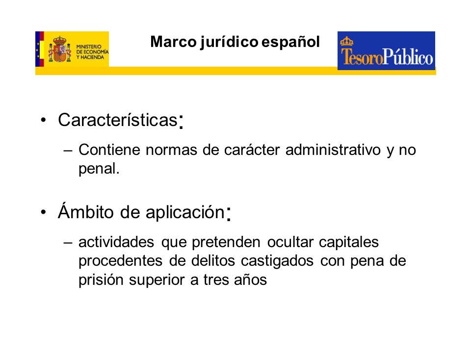 Marco jurídico español Características : –Contiene normas de carácter administrativo y no penal. Ámbito de aplicación : –actividades que pretenden ocu