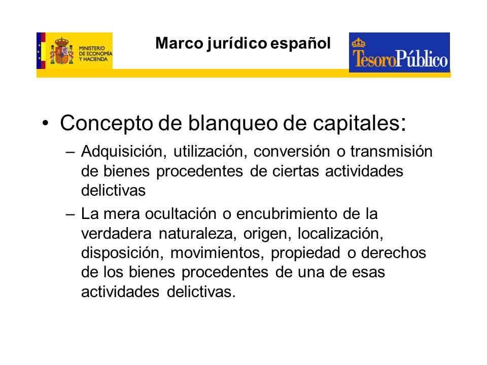 Marco jurídico español Concepto de blanqueo de capitales : –Adquisición, utilización, conversión o transmisión de bienes procedentes de ciertas activi