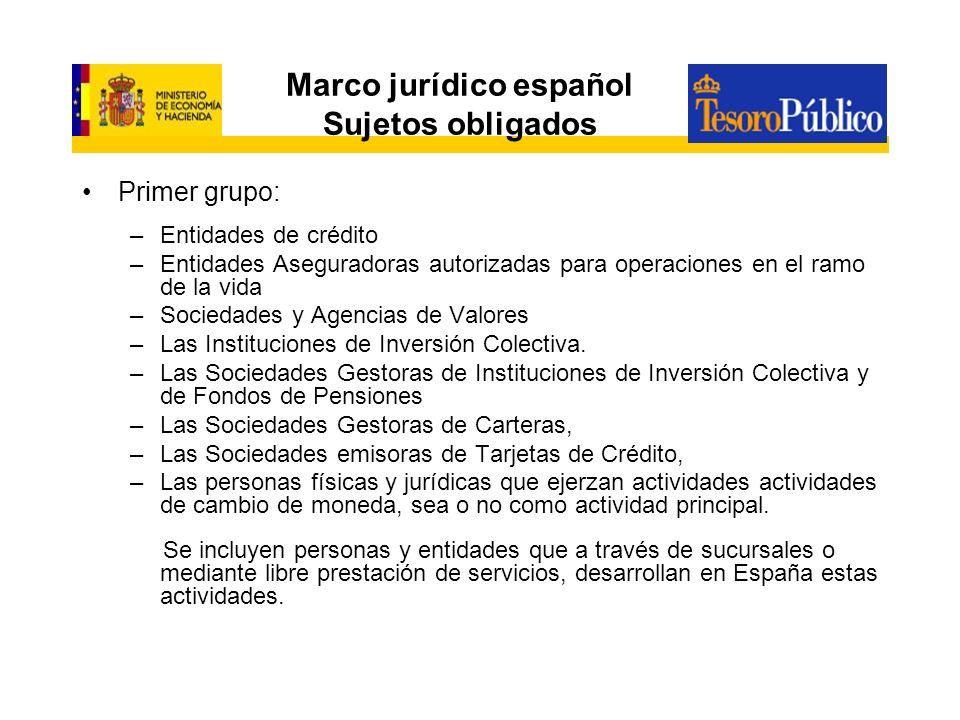 Marco jurídico español Sujetos obligados Primer grupo: –Entidades de crédito –Entidades Aseguradoras autorizadas para operaciones en el ramo de la vid