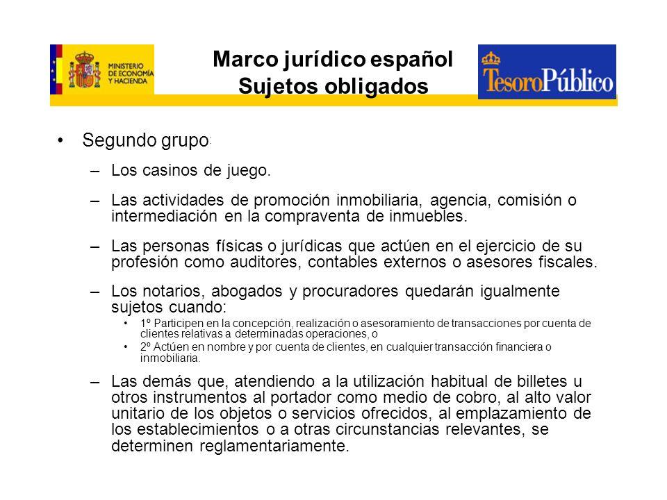 Marco jurídico español Sujetos obligados Segundo grupo : –Los casinos de juego. –Las actividades de promoción inmobiliaria, agencia, comisión o interm