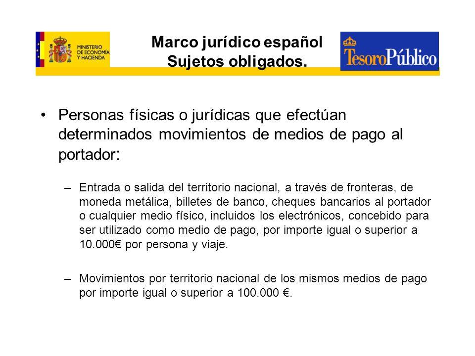 Marco jurídico español Sujetos obligados. Personas físicas o jurídicas que efectúan determinados movimientos de medios de pago al portador : –Entrada
