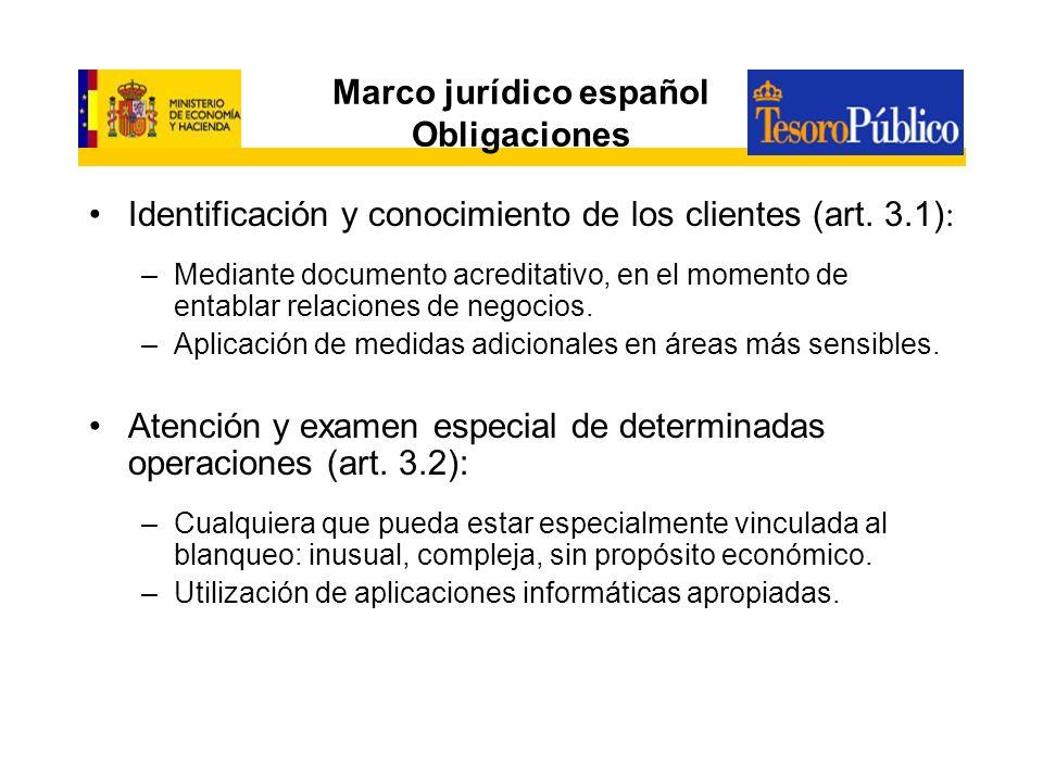 Marco jurídico español Obligaciones Identificación y conocimiento de los clientes (art. 3.1): –Mediante documento acreditativo, en el momento de entab