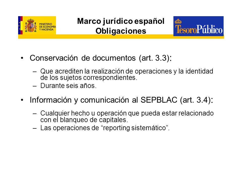 Marco jurídico español Obligaciones Conservación de documentos (art. 3.3) : –Que acrediten la realización de operaciones y la identidad de los sujetos