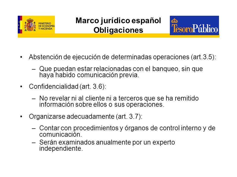 Marco jurídico español Obligaciones Abstención de ejecución de determinadas operaciones (art.3.5): –Que puedan estar relacionadas con el banqueo, sin