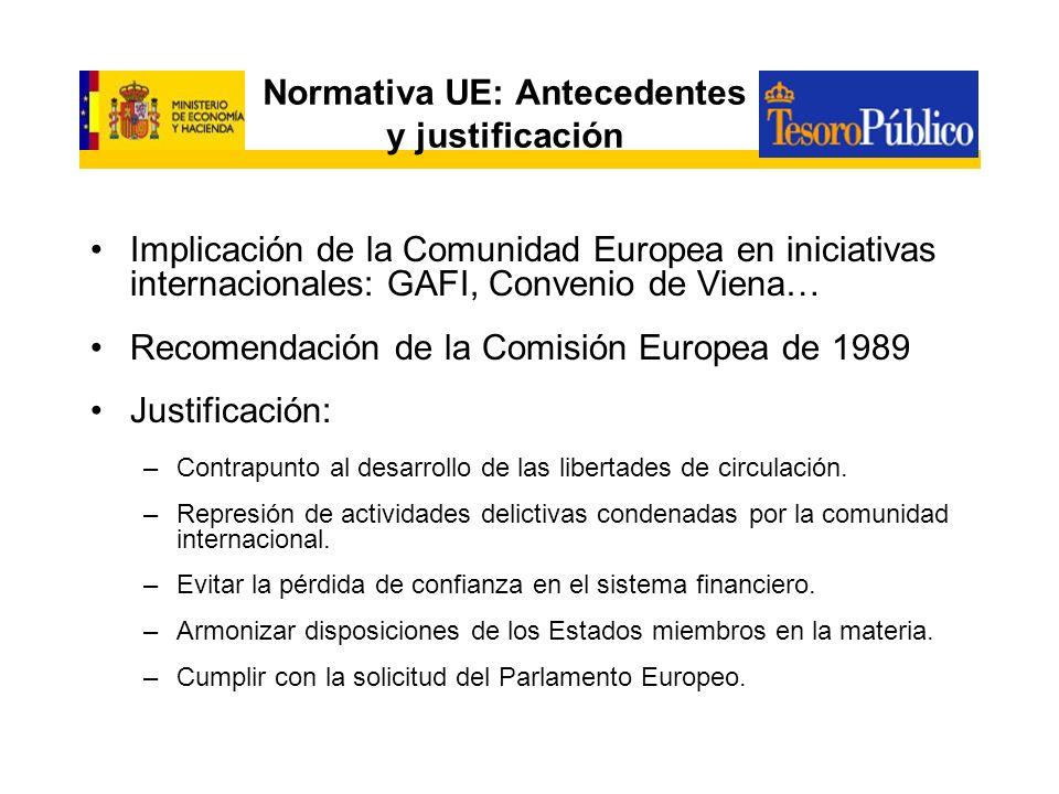 Normativa UE: Antecedentes y justificación Implicación de la Comunidad Europea en iniciativas internacionales: GAFI, Convenio de Viena… Recomendación