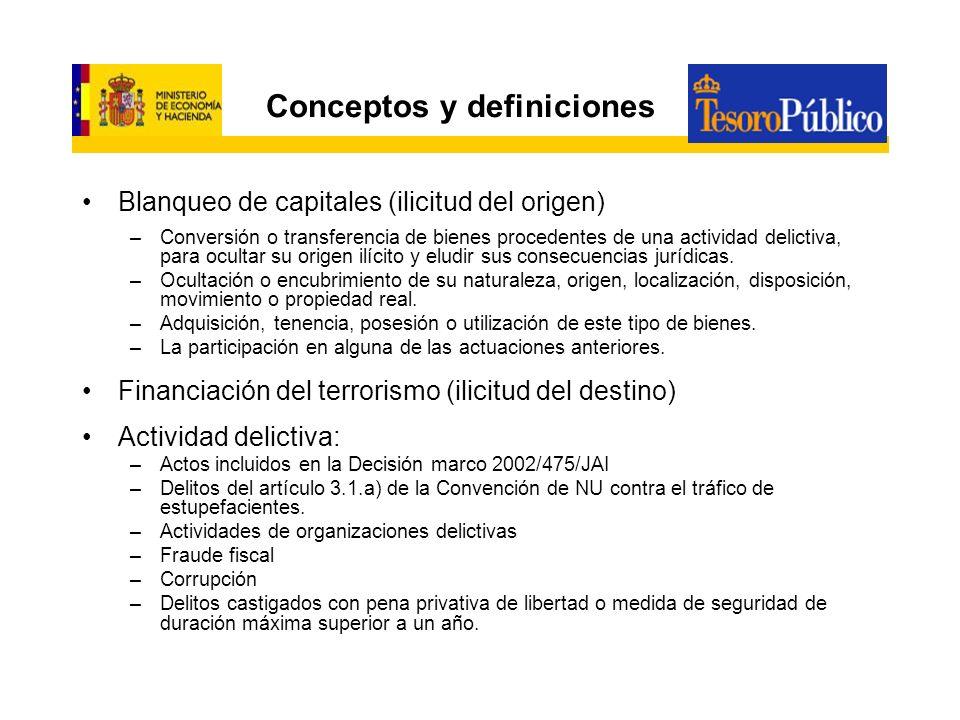 Conceptos y definiciones Blanqueo de capitales (ilicitud del origen) –Conversión o transferencia de bienes procedentes de una actividad delictiva, par