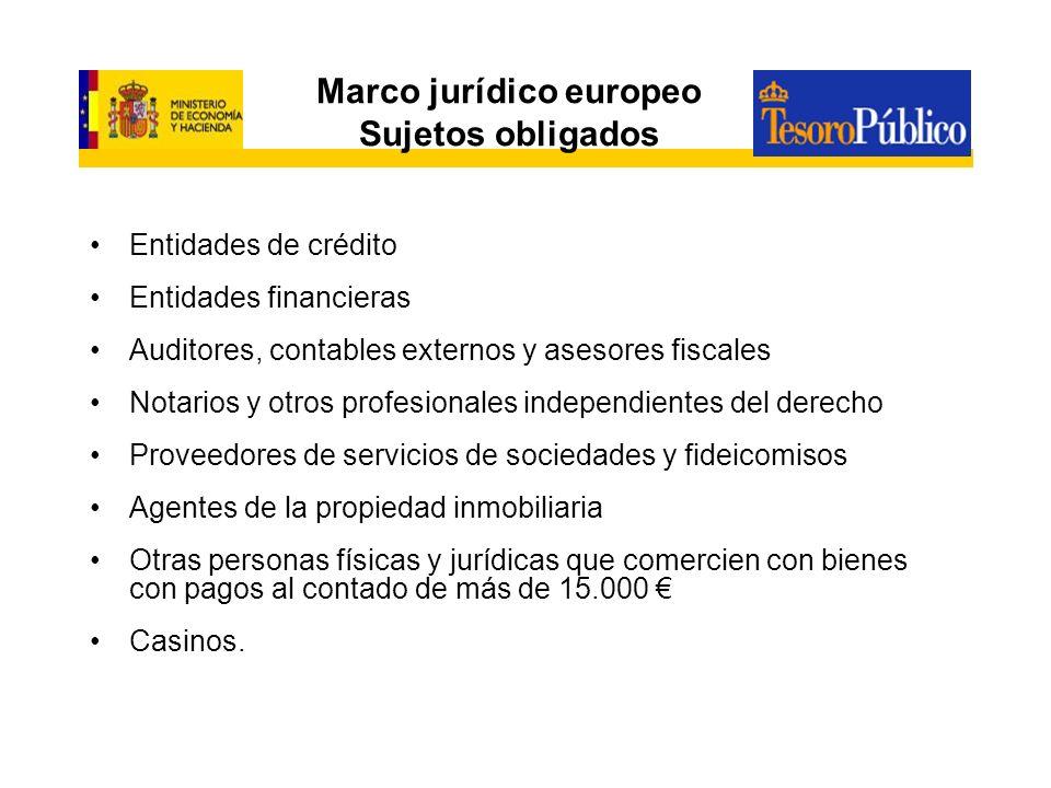 Marco jurídico europeo Sujetos obligados Entidades de crédito Entidades financieras Auditores, contables externos y asesores fiscales Notarios y otros