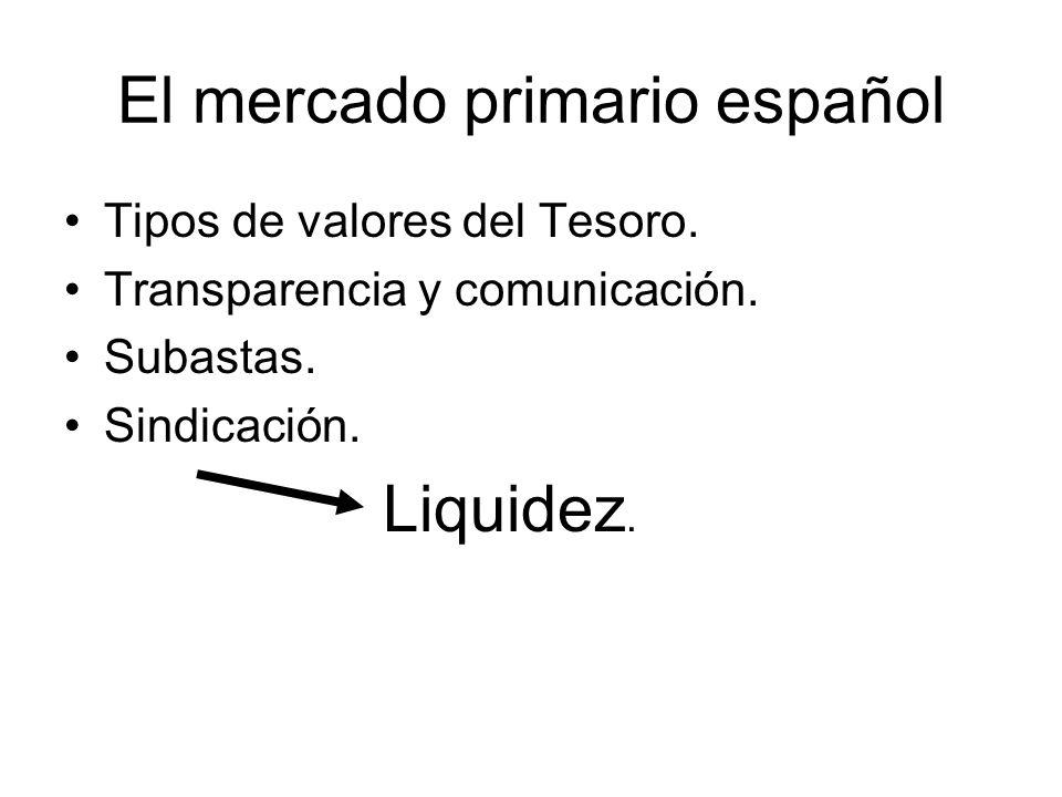 El mercado primario español Tipos de valores del Tesoro.