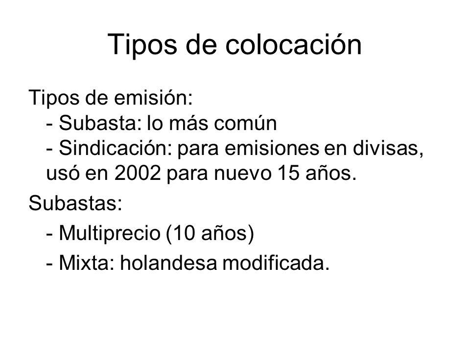 Tipos de colocación Tipos de emisión: - Subasta: lo más común - Sindicación: para emisiones en divisas, usó en 2002 para nuevo 15 años.