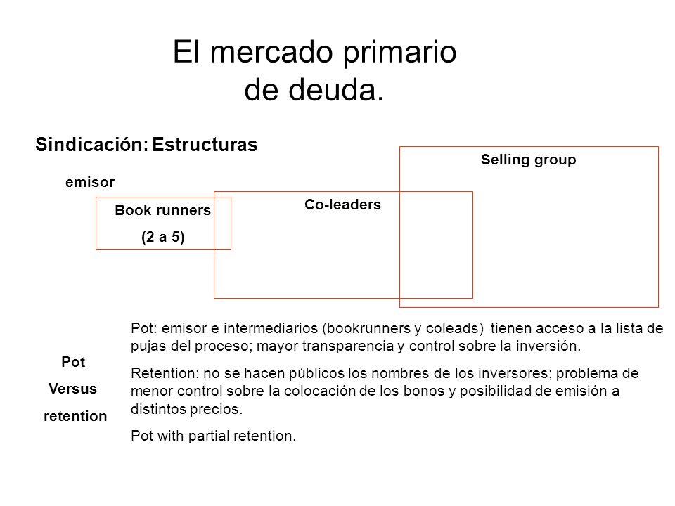 Sindicación: Estructuras Pot Versus retention Pot: emisor e intermediarios (bookrunners y coleads) tienen acceso a la lista de pujas del proceso; mayor transparencia y control sobre la inversión.