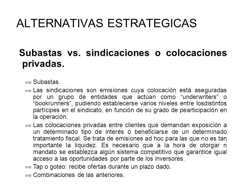 Subastas vs.sindicaciones o colocaciones privadas.