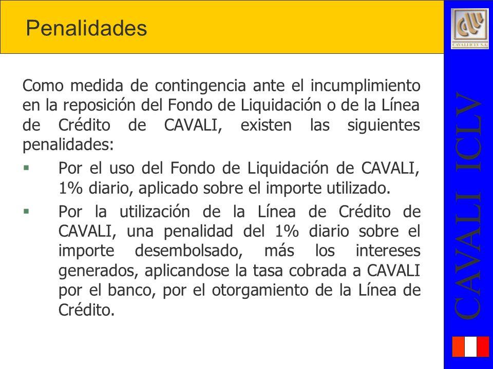 CAVALI ICLV Como medida de contingencia ante el incumplimiento en la reposición del Fondo de Liquidación o de la Línea de Crédito de CAVALI, existen las siguientes penalidades: § Por el uso del Fondo de Liquidación de CAVALI, 1% diario, aplicado sobre el importe utilizado.