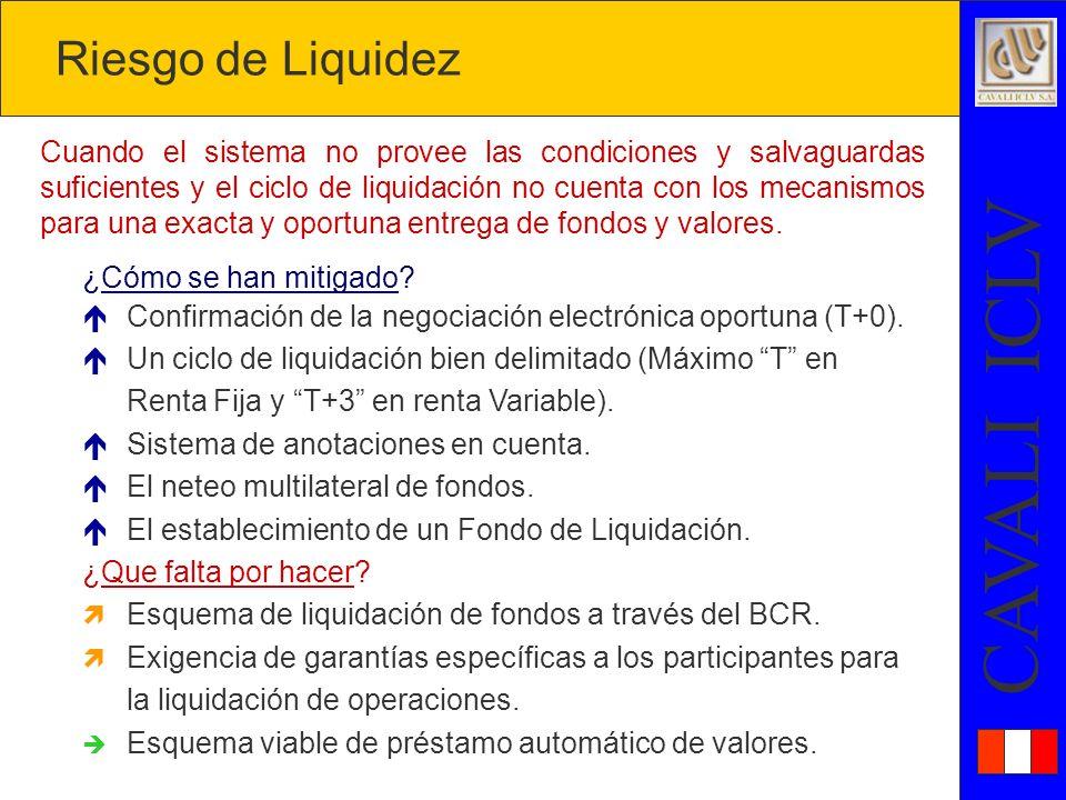 CAVALI ICLV Cuando el sistema no provee las condiciones y salvaguardas suficientes y el ciclo de liquidación no cuenta con los mecanismos para una exacta y oportuna entrega de fondos y valores.
