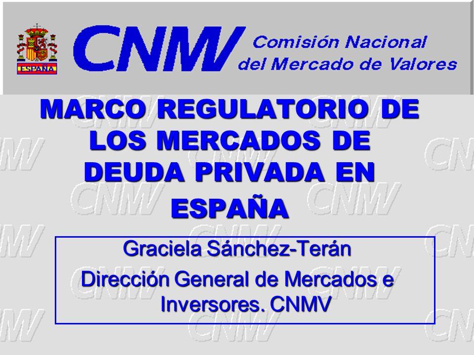 MARCO REGULATORIO DE LOS MERCADOS DE DEUDA PRIVADA EN ESPAÑA Graciela Sánchez-Terán Dirección General de Mercados e Inversores. CNMV