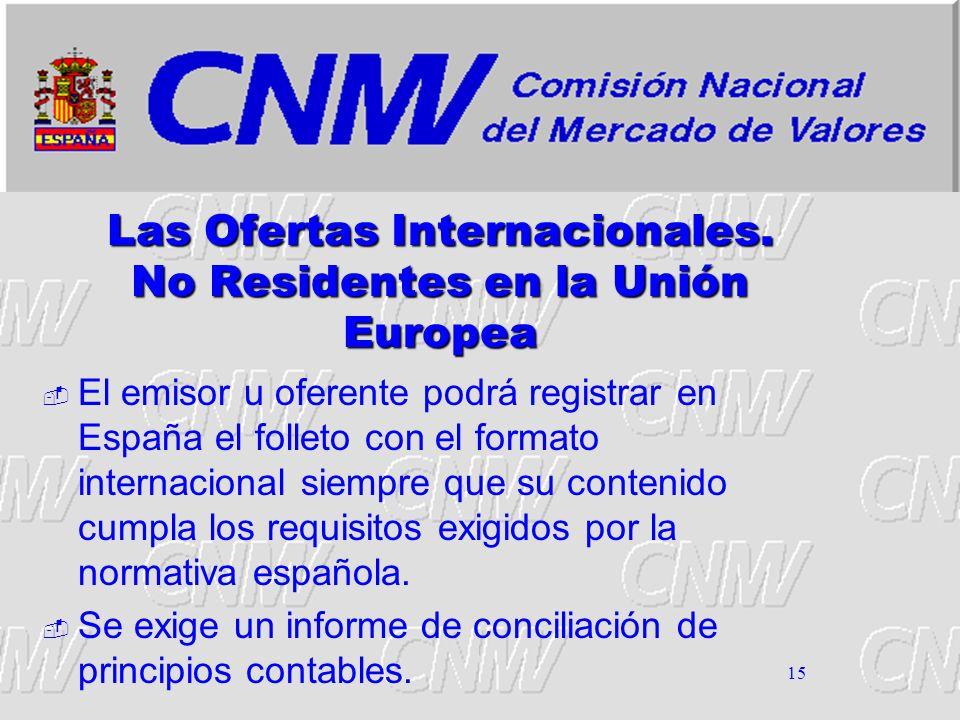 15 Las Ofertas Internacionales. No Residentes en la Unión Europea El emisor u oferente podrá registrar en España el folleto con el formato internacion