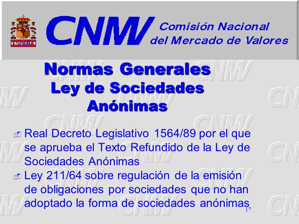 17 Normas Generales Ley de Sociedades Anónimas Real Decreto Legislativo 1564/89 por el que se aprueba el Texto Refundido de la Ley de Sociedades Anóni