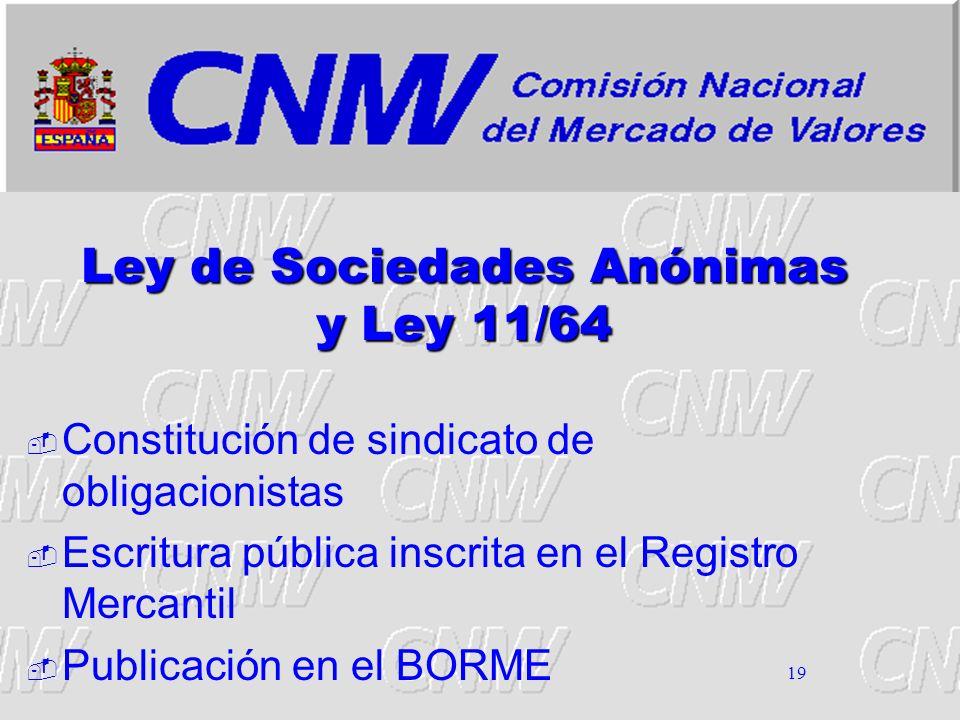 19 Ley de Sociedades Anónimas y Ley 11/64 Constitución de sindicato de obligacionistas Escritura pública inscrita en el Registro Mercantil Publicación